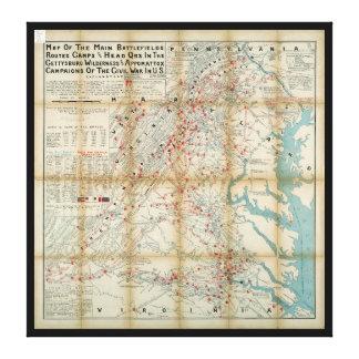 Gettysburg, desierto y mapa de la guerra civil de lienzo