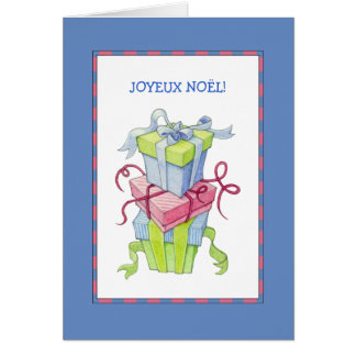 Gift Boxes blue French Christmas Card