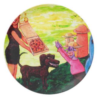 Gigante, pizza, perro y vaca platos para fiestas