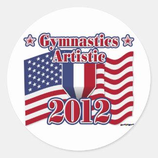 Gimnasia 2012 artística pegatina redonda