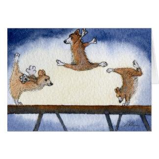 Gimnasia artística del perro del Corgi Galés Tarjetas