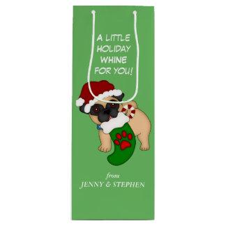 Gimoteo del perrito del barro amasado del navidad bolsa para vino