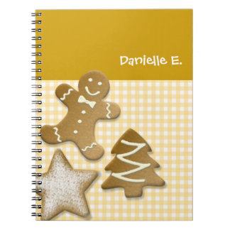 Gingerbread man cookie brown fun holiday kitchen note books