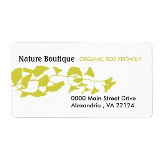 Ginkgo de oro del otoño verde de la naturaleza etiqueta de envío