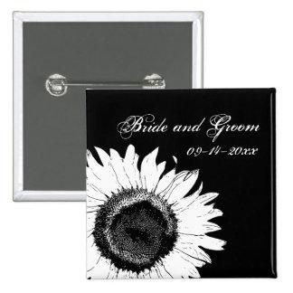 Girasol blanco en el boda negro chapa cuadrada