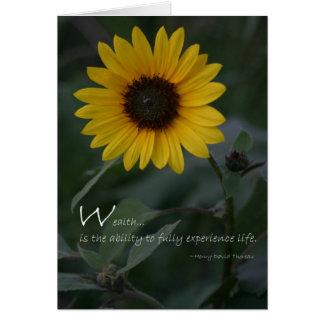 Girasol del amarillo de la cita de la riqueza tarjeta de felicitación