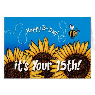 girasol del rastro de la abeja - 15 años felicitacion