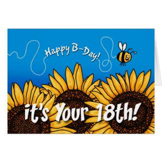 girasol del rastro de la abeja - 18 años tarjeta de felicitación