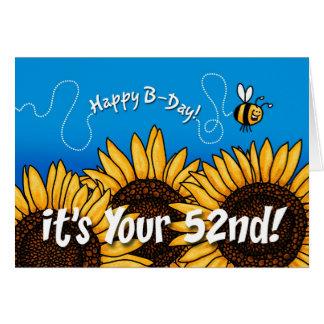 girasol del rastro de la abeja - 52 años tarjeta de felicitación