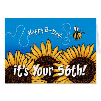 girasol del rastro de la abeja - 56 años tarjeta de felicitación