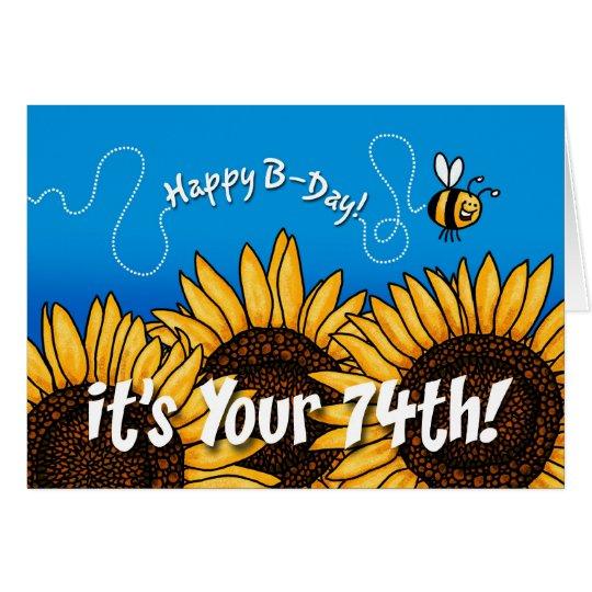 girasol del rastro de la abeja - 74 años tarjeta de felicitación