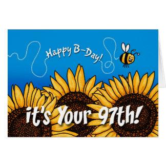 girasol del rastro de la abeja - 97 años tarjeta de felicitación