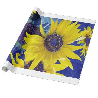 Girasol en el papel de embalaje azul del diseño