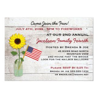 Girasol fiesta del 4 de julio, reunión, invitación
