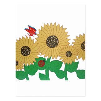 Girasol, mariposa y una mariquita en una suma postal