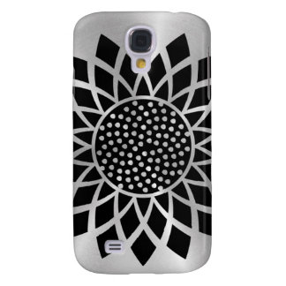 Girasol moderno (negro en el botón de plata) funda para samsung galaxy s4
