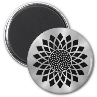 Girasol moderno (negro en el botón de plata) imán redondo 5 cm