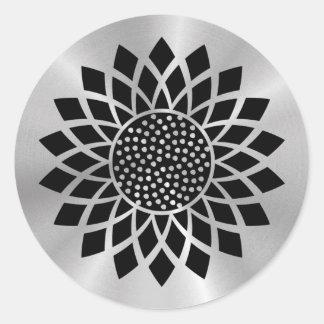 Girasol moderno (negro en el botón de plata) pegatina redonda