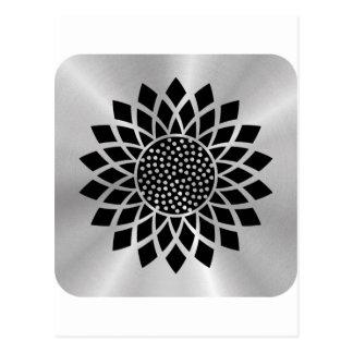Girasol moderno (negro en el botón de plata) postal