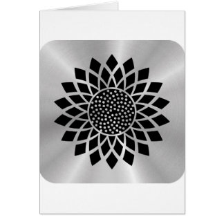 Girasol moderno (negro en el botón de plata) tarjeta de felicitación