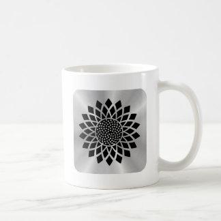 Girasol moderno (negro en el botón de plata) taza clásica
