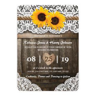 Girasol rústico de la invitación de boda del