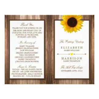 Girasol rústico del país y boda de madera de Brown Folleto 21,6 X 28 Cm