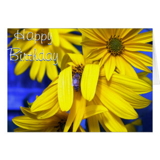 Girasoles amarillos, abeja azul - tarjeta de cumpl