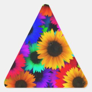 Girasoles de neón pegatina triangular