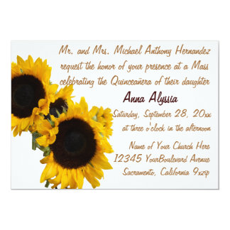 Girasoles del bonito de Quinceanera Invitación 12,7 X 17,8 Cm