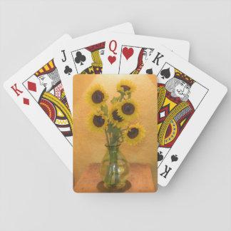 Girasoles en florero en el cuadro 2 baraja de póquer