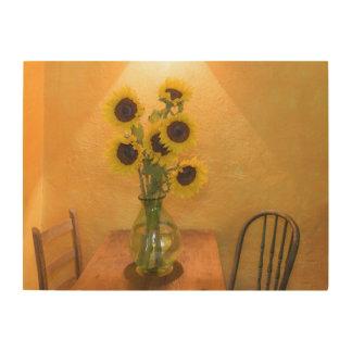 Girasoles en florero en el cuadro 2 cuadros de madera