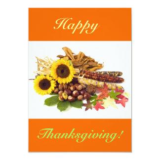 Girasoles felices de la acción de gracias V Invitación 12,7 X 17,8 Cm