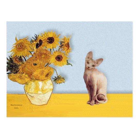 Girasoles - gato poner crema de Sphyx Postal