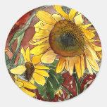 girasoles que pintan los regalos del arte pegatina redonda