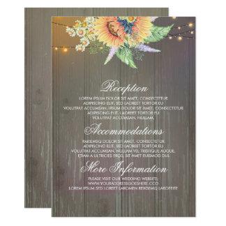 Girasoles rústicos que casan la tarjeta de la invitación 11,4 x 15,8 cm
