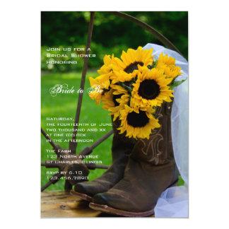 Girasoles rústicos y ducha nupcial de las botas de invitación 12,7 x 17,8 cm