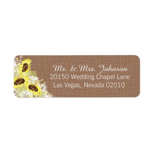 Girasoles y etiqueta rústica del boda del cordón