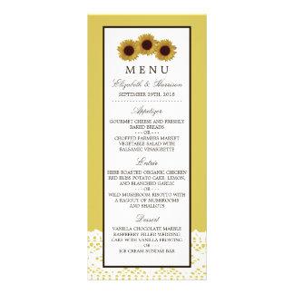 Girasoles y menú del boda del cordón del vintage tarjetas publicitarias