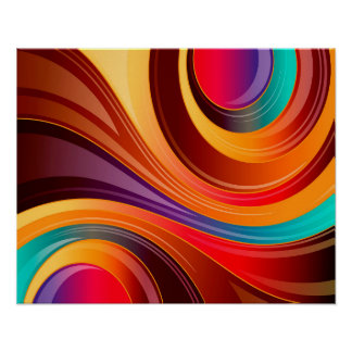 Giro abstracto del multicolor del fondo póster