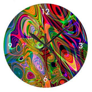 Giros abstractos fluorescentes psicodélicos reloj redondo grande