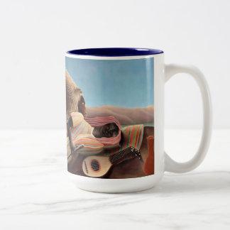 Gitano durmiente taza de café de dos colores