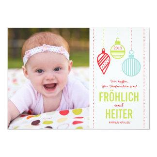 Glänzenden Verzierungen Foto Weihnachtskarte Invitación 12,7 X 17,8 Cm