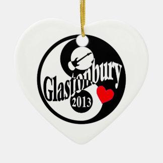 Glastonbury 2013 adorno navideño de cerámica en forma de corazón