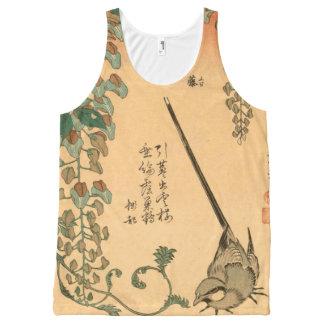 Glicinias y Wagtail GalleryHD del vintage de Camiseta De Tirantes Con Estampado Integral