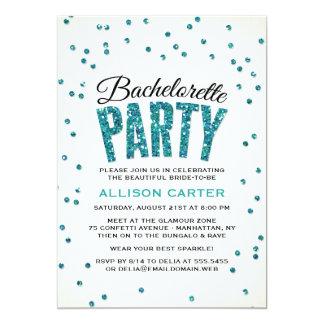 Glitter Look Confetti Bachelorette Party Personalized Announcement