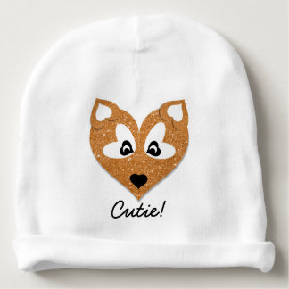 Glittery Heart Shaped Fox Gorrito Para Bebe