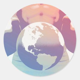 Globalización y una compañía global con las manos pegatina redonda