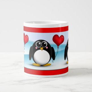 Globo adorable del corazón del pingüino - taza del