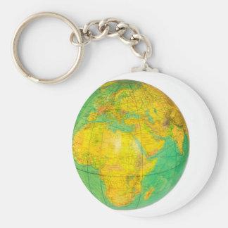 Globo con la tierra del planeta aislada en blanco llavero